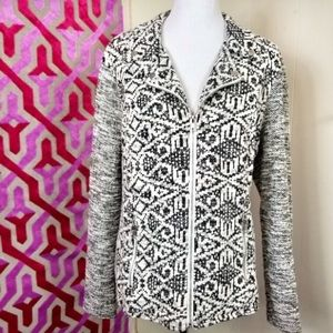 Style & Co.  full zip geometric knit moto jacket